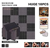 Ace Punch 16 Pack BLACK AND GRAY Self Adhesive Pyramid Acoustic Foam Panel DIY Design Studio Soundproofing Wall Tiles Sound Insulation with Free Mounting Tabs 19.6'' x 19.6'' x 1.9'' AP1053
