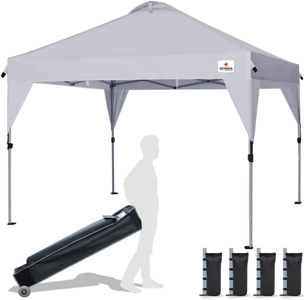 Keymaya 10 x10 Ez Pop Up Canopy Tent Commercial Instant Shelter Canopies Bonus Heavy Duty Weight Bag 4-pc Pack 10×10, Skirt Gray