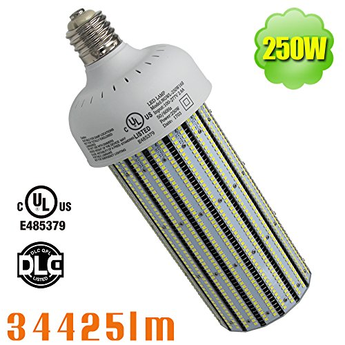 NUOGUAN 250W LED Corn Light 1000W MH HPS HID Replacement 6000K Bright White 34425 Lumens 360 Degree Led Mogul Base Lamp for Factory Tennis Court Museum
