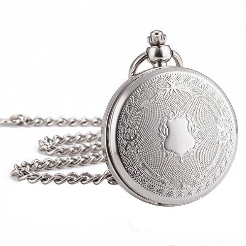 Wind Up 17 Jewels - WENSHIDA Retro Romen Numbers Mechanical Sliver Skeleton Mens Women Pocket Watch Pendant Fob