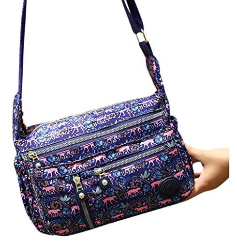 Women 's Multi Pocket Crossbody Bag Casual Handbag Nylon Printing Shoulder Bag Casual Travel Sling Bag by mossty