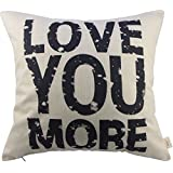 """Generic Love You More Square About Cotton Throw Pillow Cushion Cover, 17.5"""" x 17.5"""""""