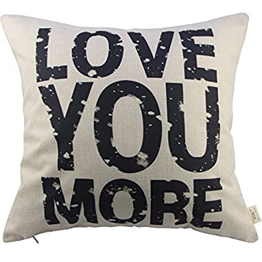 HOSL Love You More Cotton Linen Pillow Cover, 17.3 x 17.3-Inch, White