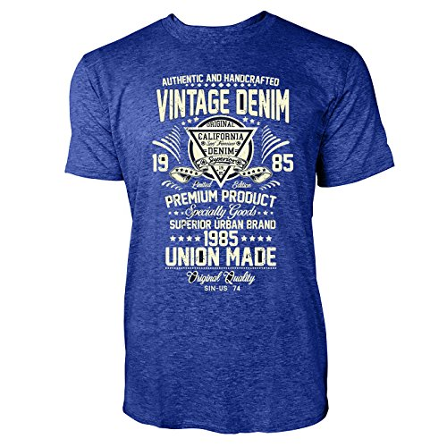 Sinus Art ® Herren T Shirt Vintage Denim 1985 ( Heather_Blue ) Crewneck Tee with Frontartwork