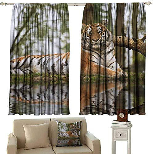 Heat Insulation Curtain Tiger Beast of Siberia Resting on a Warm Day on a Lake with its Reflection Altaica Mammal Tie Up Window Drapes Living Room W55 xL39 Light Brown