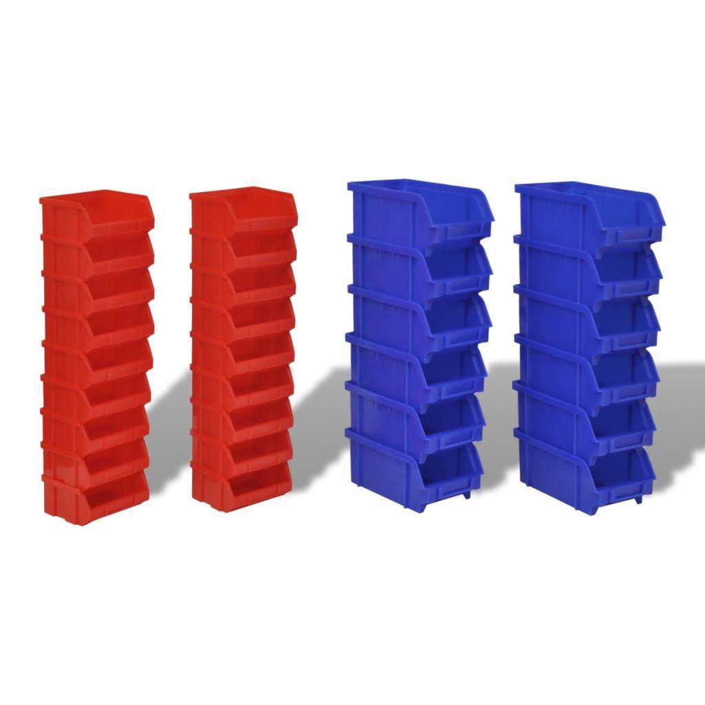yorten 30 pzas Cajas de Almacenaje de Garaje de Pared Conjunto de Contenedores de Pl/ástico Recipientes Extra/íbles y Apilables Azul y Rojo
