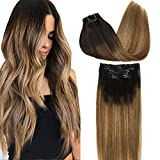 Googoo Remy Hair Extensions Clip in Human Hair Extensions Ombre Dark Brown Fading to Light Brown and Ash Blonde Natural Clip in Extensions Balayage Hair Extensions 7pcs 120g 16 inch