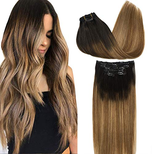 Googoo Remy Hair Extensions Clip in Human Hair Extensions Ombre Dark Brown Fading to Light Brown and Ash Blonde Ombre Clip in Extensions Balayage Hair Extensions 7pcs 120g 20 inch