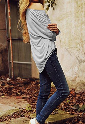 T Gris Femme Irrguliers Tops Manches Shirts Longues Shirts Tee Casual Vrac Shirt Blouse en Chemiser zzAUF