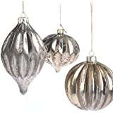 6 Modern Chic Mottled Mercury Glass Bauble Ornaments with Jute Hanging Strings Attached