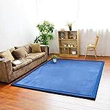 GIY Solid Rectangular Area Rugs Soft Living Room Carpets Coral Fleece Anti-Slip Children Bedroom Rug Home Decor Modern Indoor Outdoor Runners Nursery Rugs Navy Blue 5' X 9'