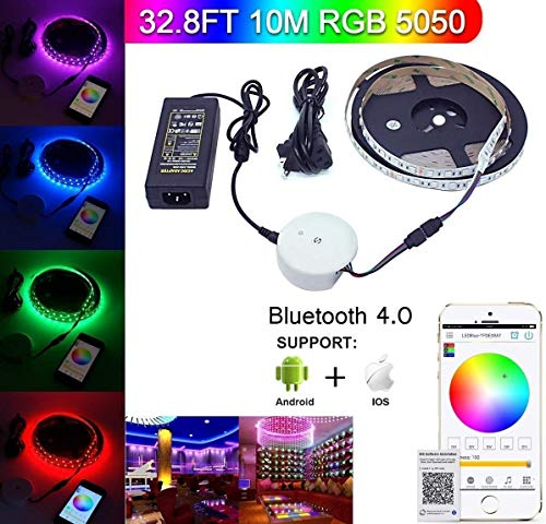 Bluetooth LED Strip Light, Topled Light 32.8ft/10M Flexible RGB Strip Light Kit,5050 SMD 600Leds Rope Light for IOS/Android App Controlled for Festival Decoration