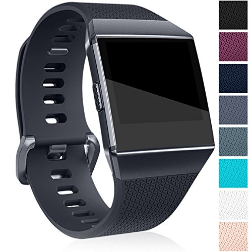Maledan Bands Compatible with Fitbit Ionic, Classic Replacement Accessory Wristbands for Fitbit Ionic Smart Watch, Charcoal, Large