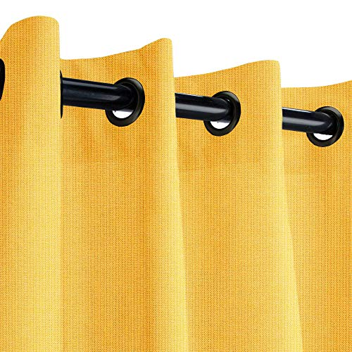 Sunbrella Spectrum Daffodil Outdoor Curtain with Dark Gunmetal Grommets 50 in. Wide x 120 in. - Sunbrella Spectrum Daffodil