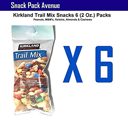 Kirkland Trail Mix Snacks 6 (2 Oz.) Packs - Peanuts, M&M's, Raisins, Almonds & ()