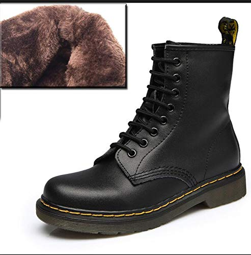 can't be satisfied Ankle Boots Genuine Leather Lace Up Shoes Punk Plus Size Riding Equestr Boots,Black,8