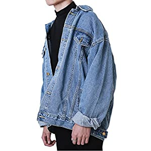 Hotmiss Men Oversize Denim Jacket Trucker Jean Coat Light Blue XL