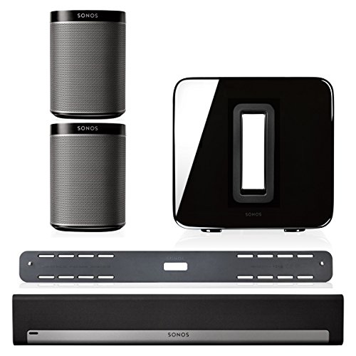 Sonos 5.1 Home Theater System Bundle - PLAYBAR, Wall Mount Kit for PLAYBAR, Wireless SUB & PLAY:1 Pair (Black) (Subwoofer Package Home)