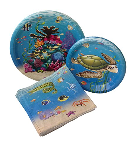 Under The Sea Birthday Supplies (Under the Sea Birthday Party Bundle with Paper Plates and Napkins for 8)