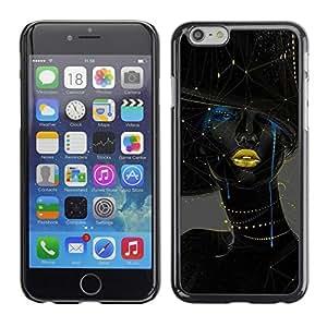 TopCaseStore / la caja del caucho duro de la cubierta de protección de la piel - Woman Gold Lips Fashion Art - Apple iPhone 6