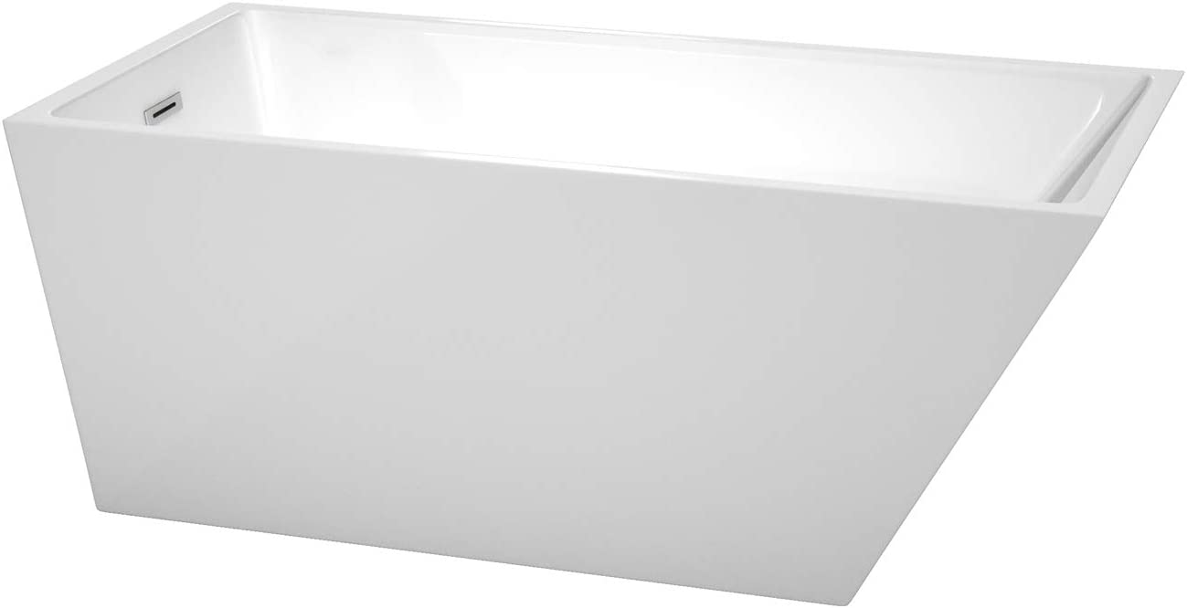 Wyndham Collection Hannah 59 inch Freestanding Bathtub in White with Polished Chrome Drain and Overflow Trim