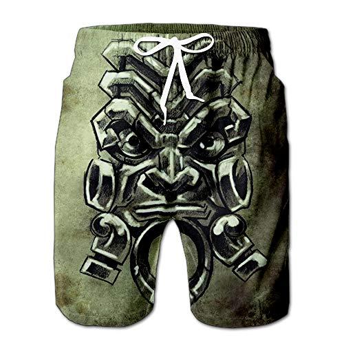 Tattoo Sketch Handmade Design Over Vintage Paper Men Swimwear Volley Pants Pocket S