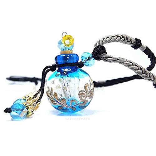 Essential Oils Pendant, UPmall Aroma Fragance Colored Glaze Pendant With Adjustable Chain Perfume Essential Oil Diffuser, Gift Wrap, 1 Free Transfer Dropper Pipette and Extra Free Cork Italian Blue