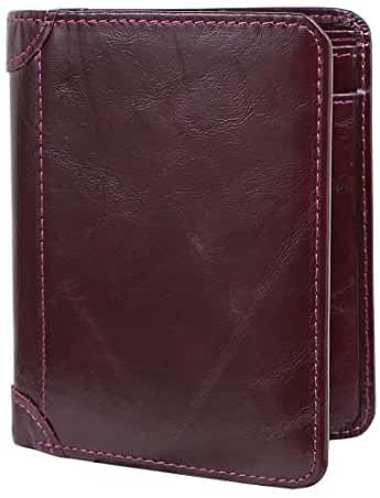 kilofly Men's Top Grain Leather Large Capacity Slim Thin Classic Trifold Wallet