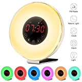 LBell Alarm Clock 2017 Deluxe Edition Wake Up Light Electronic Alarm Clock with 7 sounds Sunrise & Sunset Simulation 7 colors Night Light with Snooze Function, FM Radio, Touch Control and USB Charger