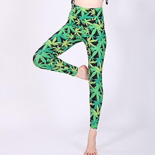 JIALELE Pantalon De Yoga Leggings Imprimé Feuille D'Érable Verte Imprimer Leggings Taille Haute En Coton Ultra-Doux Sport