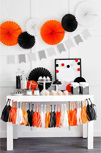 Halloween Birthday Party Decorations Set - Black Orange Pompom, 3D Wall Bats, Tissue Hanging Paper Fans Pinwheel, Tassel Paper Streamers Gifts for Kids Spooky Photo Favor Backdrop, Banner Background