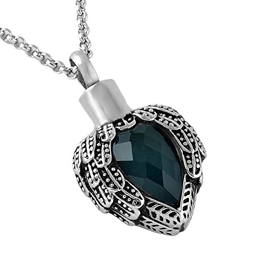 Zahara Memorial Urn Necklace (20 Inches) with Velvet Pouch & Fill Kit | Dark Sapphire Angel Heart Pendant and Chain (Nickel Free)