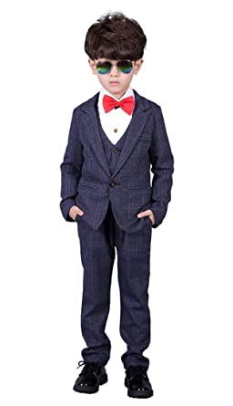 8d94bdd93 Amazon.com  Boys Checked Suit Set Jacket Vest Pants 3 Pieces Blue ...