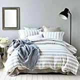 Merryfeel Linen Duvet Cover Set,100% French Linen Yarn Dyed Stripe Duvet Cover Set - King - Cream Stripe