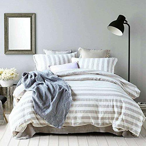 (Merryfeel Pure Linen Duvet Cover Set, 100% French Linen Duvet Cover with 2 Pillowshams, Luxury Yarn Dyed Beding Set - Full/Queen - Cream Stripe)