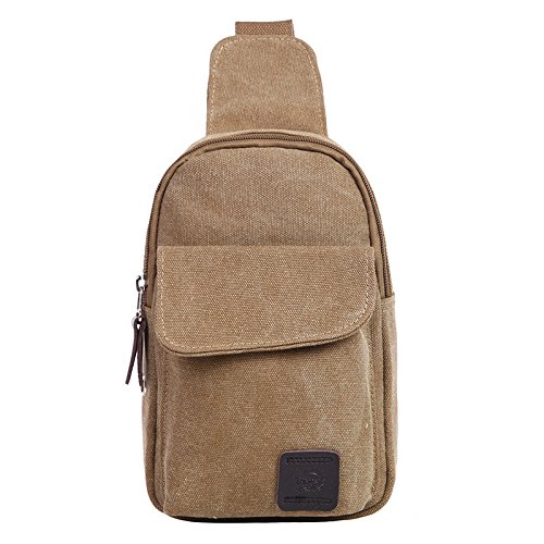 Leisure Men's Crossbody Bags Canvas One Shoulder Backpack Oblique Chest Pack Fashion Shoulder Bag (Khaki)