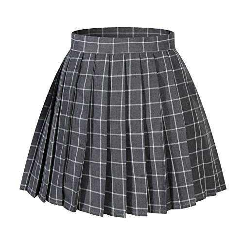Women`s plaid flared British high school Pleated Skirts (4XL,Grey white)]()