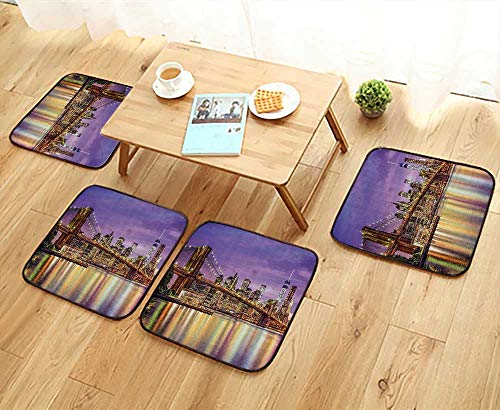 - Universal Chair Cushions Exquisite Skyline Manhattan Broadway Old Neighborhood Tourist Country Personalized Durable W15.5 x L15.5/4PCS Set