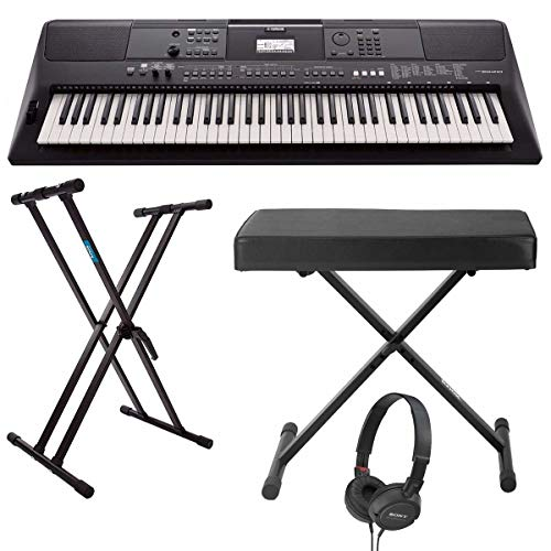 Yamaha PSREW410 76-key Portable Keyboard with Power Adapter, Double-Braced X-Style Keyboard Stand, Folding X-Style Piano Bench and On-Ear Stereo Headphones