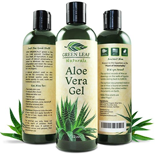 Green Leaf Naturals Pure Aloe Vera Gel for Natural Skin Care - 99.8% Organic - Thin Aloe Gel Formula for Skin, Face, Hair, Daily Moisturizer, Aftershave Lotion, Sunburn Relief, Burn Care - 12 ounce