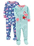Carter's Baby Girls' 2-Pack Cotton Footed Pajamas, Whale/Flamingo, 24 Months