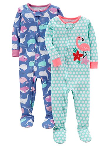 Carter's Baby Girls' 2-Pack Cotton Footed Pajamas, Whale/Flamingo, 12 Months