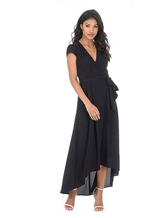 AX Paris Womens Capped Sleeve Waterfall Dress(Black, ...
