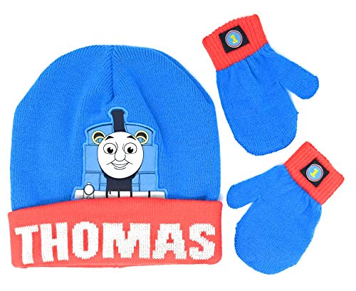 Toddler Thomas The Train Beanie Hat with Pom Pom and Mittens]()