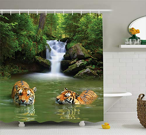 (Ambesonne Safari Decor Shower Curtain Set, Siberian Tigers in Water Waterfall Pool Woodland Swimming Asian Natural, Bathroom Accessories, 69W X 70L Inches, Green White)