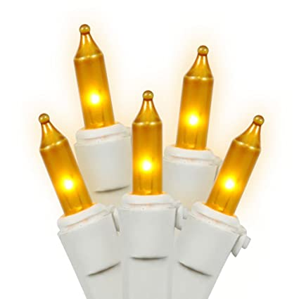 gold frost christmas lights on white wire 50 count bulb spacing 4