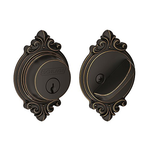Ornate Door Knobs (Schlage Single Cylinder Deadbolt with Brookshire Trim, Aged Bronze (B60 N BRK 716))