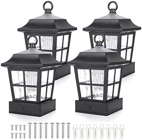Solar Fence Post Light Solar Deck Light Solar Post Cap Light Solar Patio Light 15 LUMENS ST130QFX4 fit for 3.7X3.7 Regular Fence Posts or with Included Adaptor fit for Bigger Flat Surface