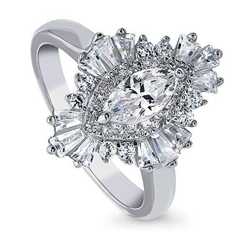 BERRICLE Rhodium Plated Sterling Silver Marquise Cut Cubic Zirconia CZ Halo Art Deco Cluster Engagement Ring 1.2 CTW Size 7