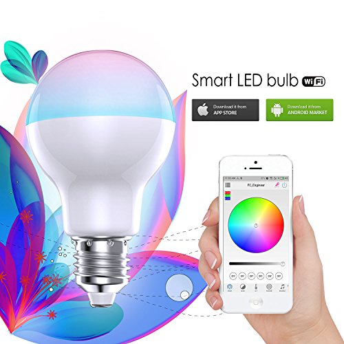 Feican RGBW WIFI LED Bulb Light Colorful Dimmable LED Light Support IOS/Android APP Control LED Lamp (7W)